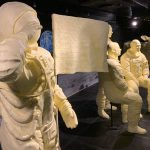 The Ohio State Fair's annual butter display, sponsored by the American Dairy Association Mideast, pays tribute to the 50th anniversary of the Apollo 11 moon landing.